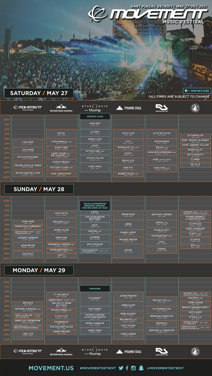 Movement Music Festival 2017 Schedule