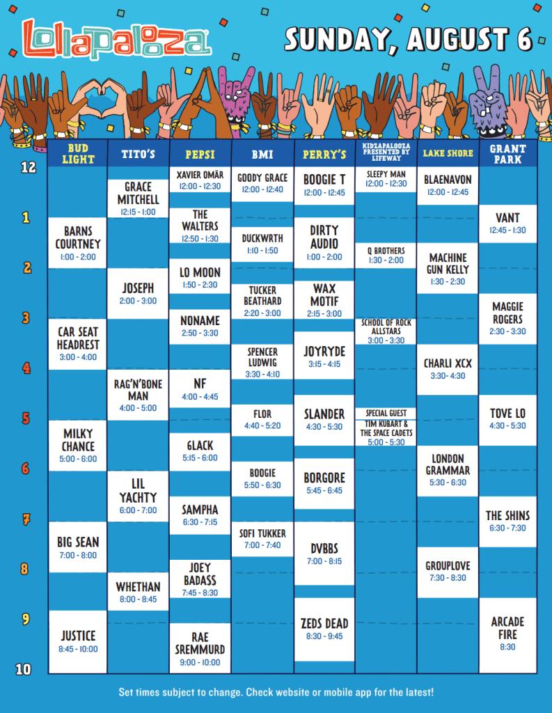 Lollapalooza 2017 Set Times - Sunday