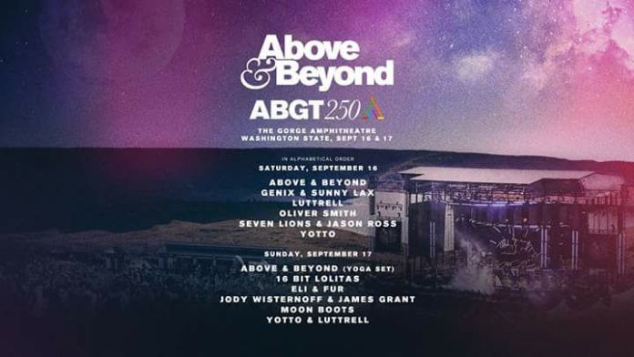 Above & Beyond Group Therapy 250 Announcement Flyer