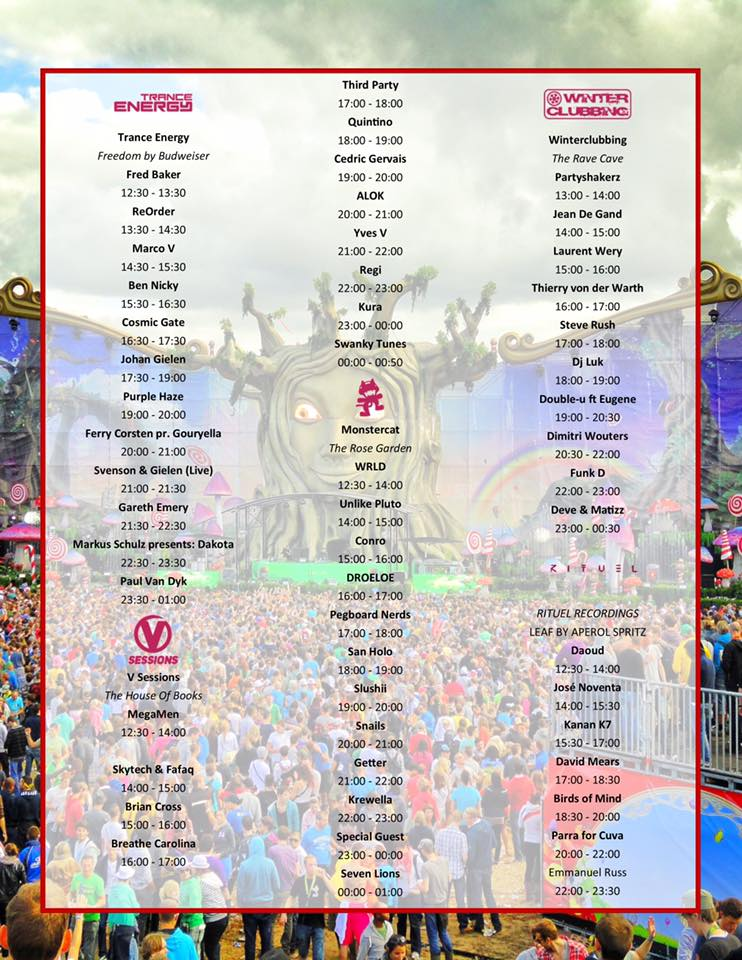 Tomorrowland 2017 Weekend 1 Set Times - Friday