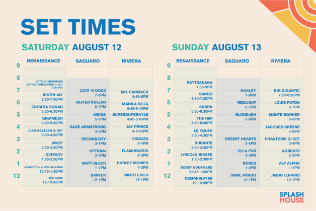Splash House 2017 August Set Times