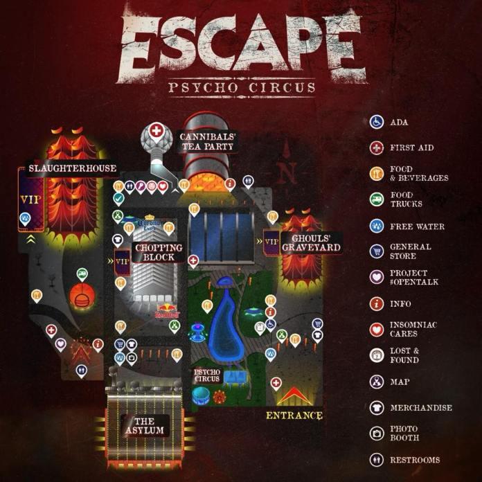 escape psycho circus 2017 set times festival map more edm