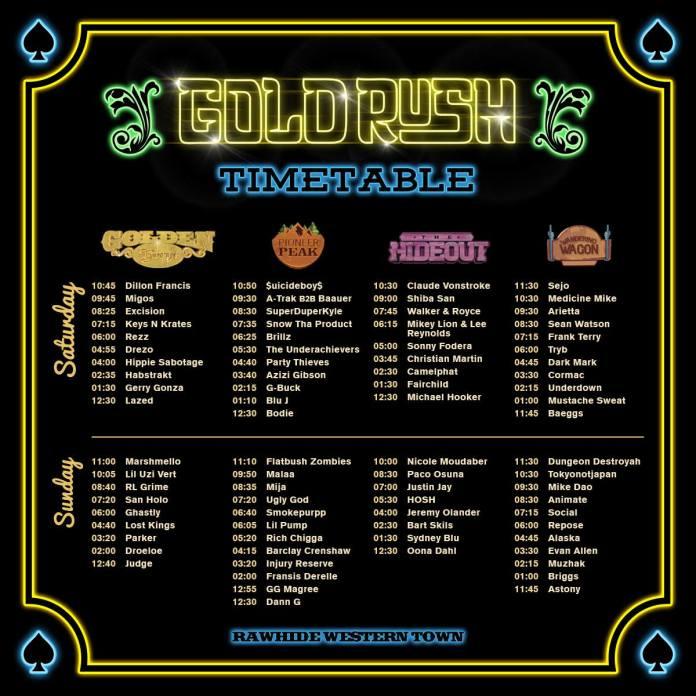 Goldrush Music Festival Set Times