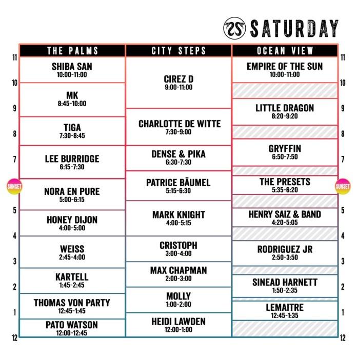 CRSSD Festival Spring 2018 Set Times Saturday
