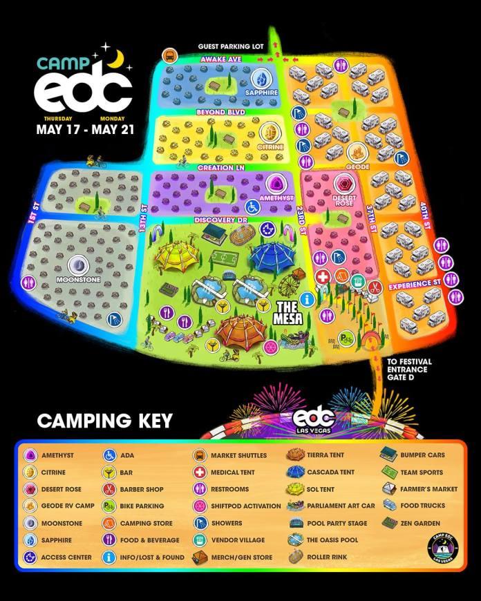 EDC Las Vegas 2018 - Camp EDC Map