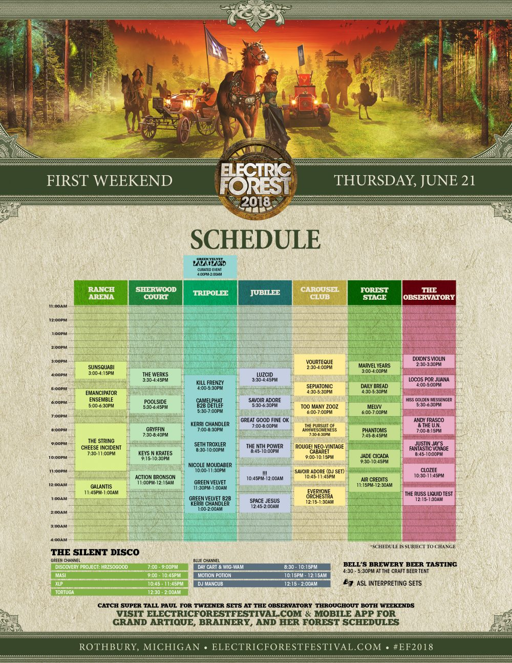 Electric Forest 2018 Wknd 1 Set Times Thursday