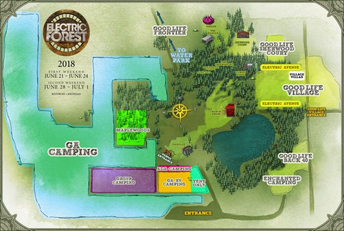 Electric Forest 2018 Camping Map