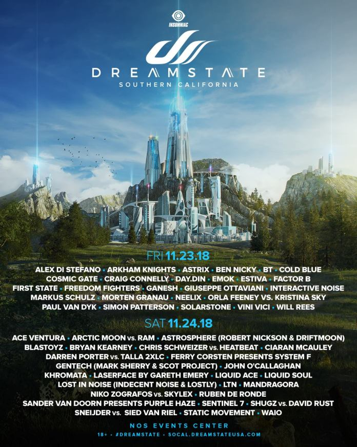 Dreamstate SoCal 2018 Daily Lineups