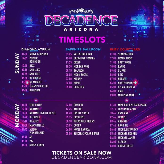 Ruby Arizona Map.Decadence Az 2018 Set Times Festival Map More Edm Identity