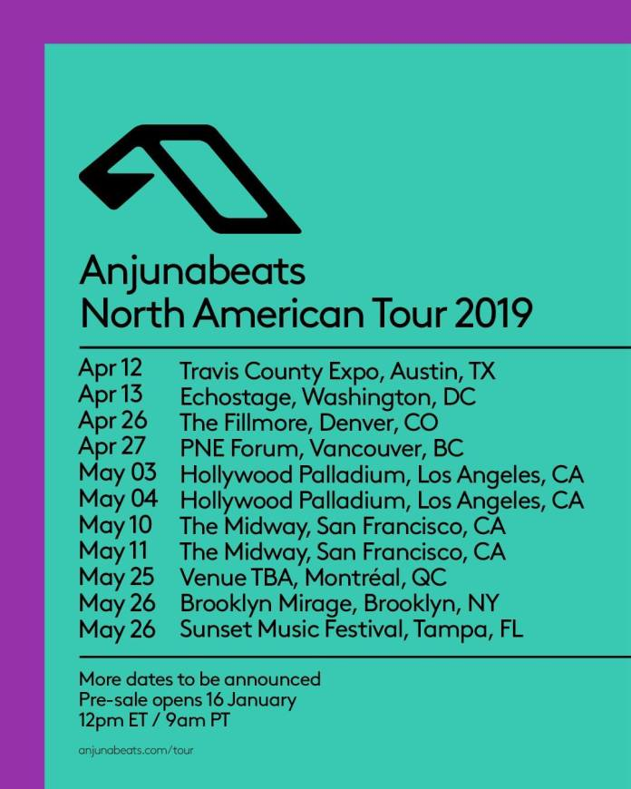 Anjunabeats North American Tour 2019 Flyer