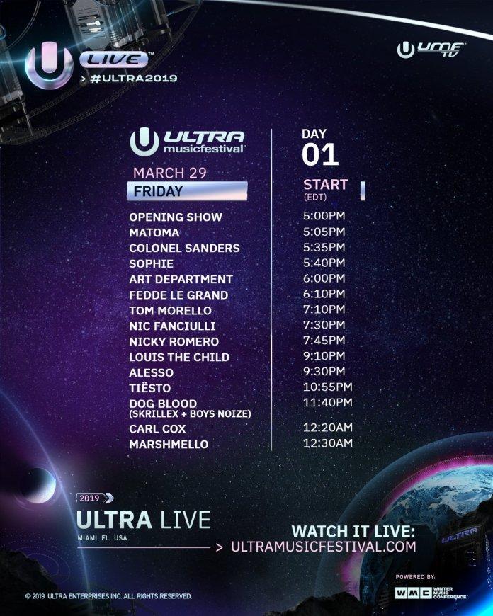 Ultra Music Festival 2019 Livestream Schedule Day 1