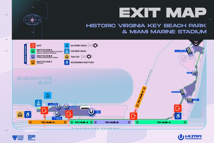 Ultra Music Festival 2019 Exit Map