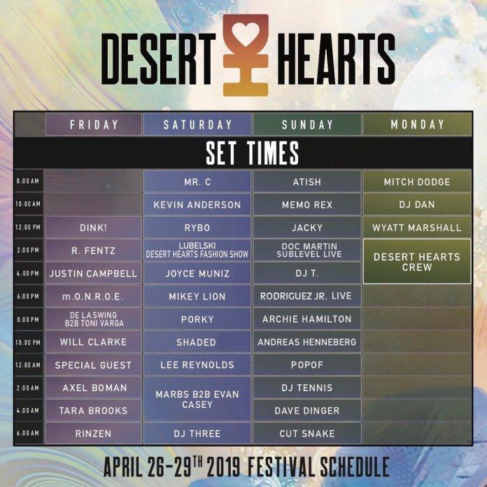 Desert Hearts Festival 2019 Set Times