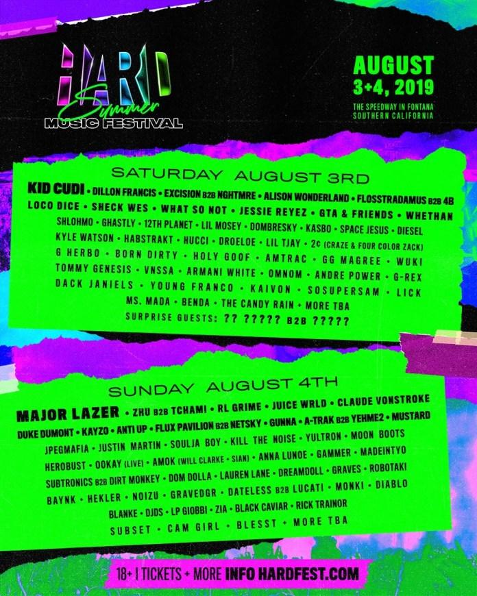 HARD Summer Music Festival 2019 Lineup