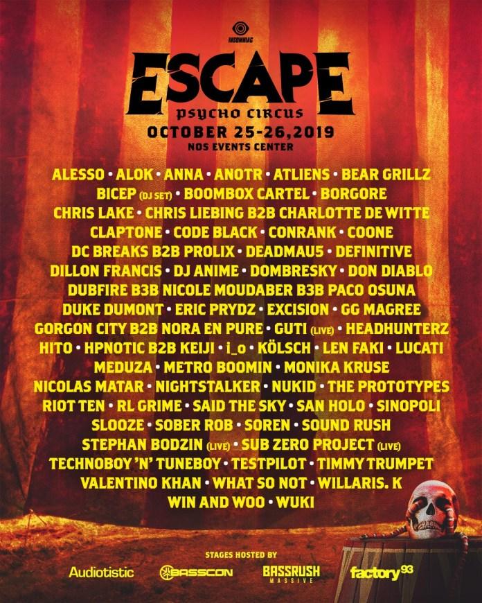 Escape: Psycho Circus 2019 Lineup