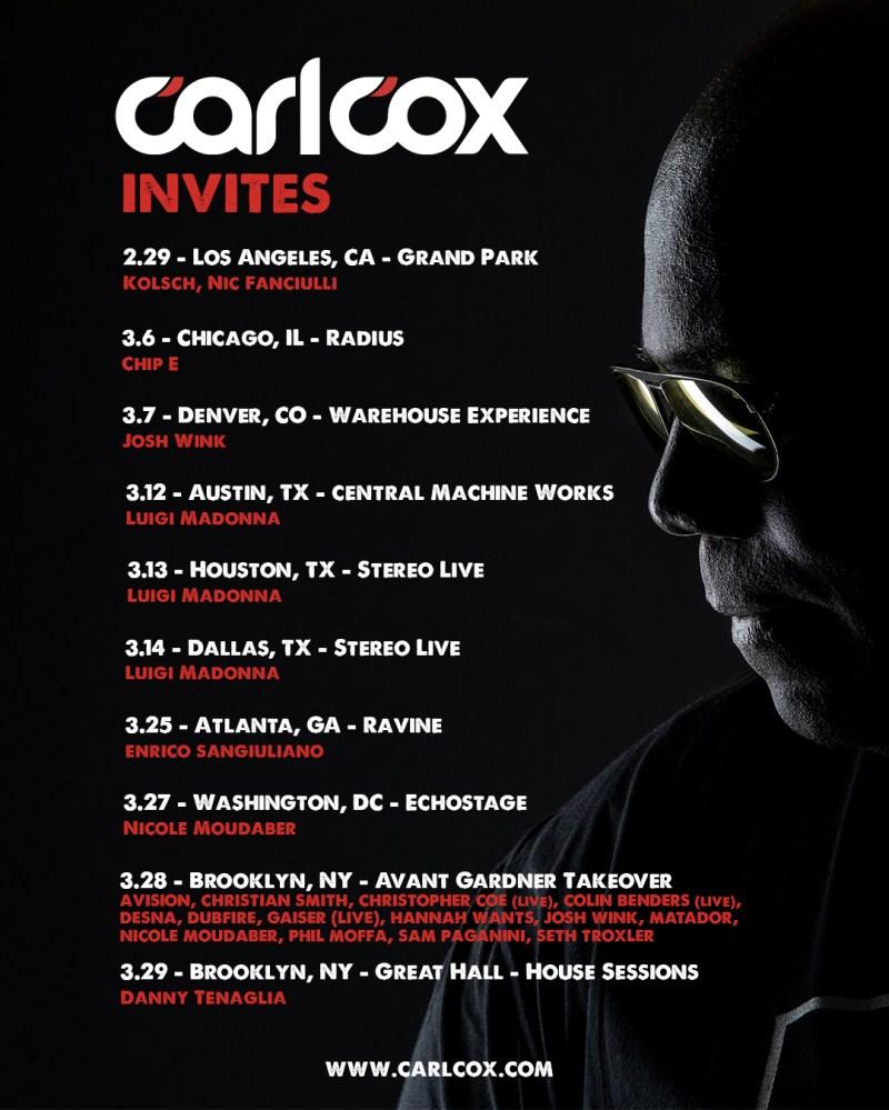 Image result for carl cox 2020 invites tour