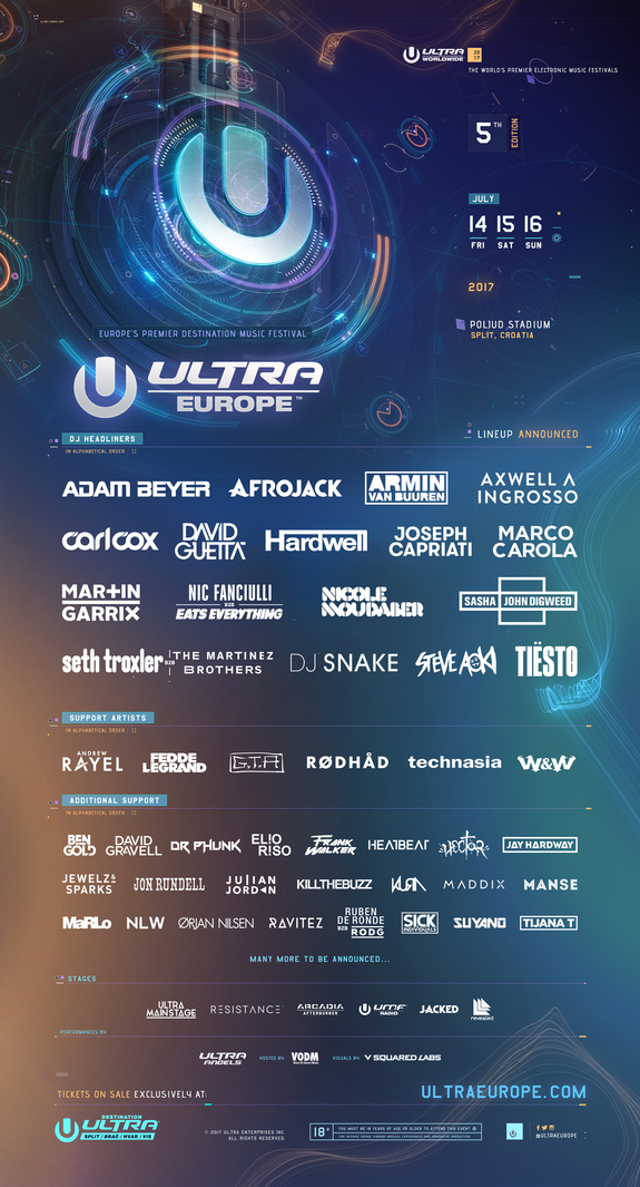 Ultra Europe 2017 Flier