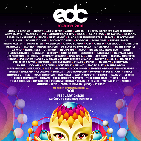 EDC Mexico 2018 Official Lineup Flyer