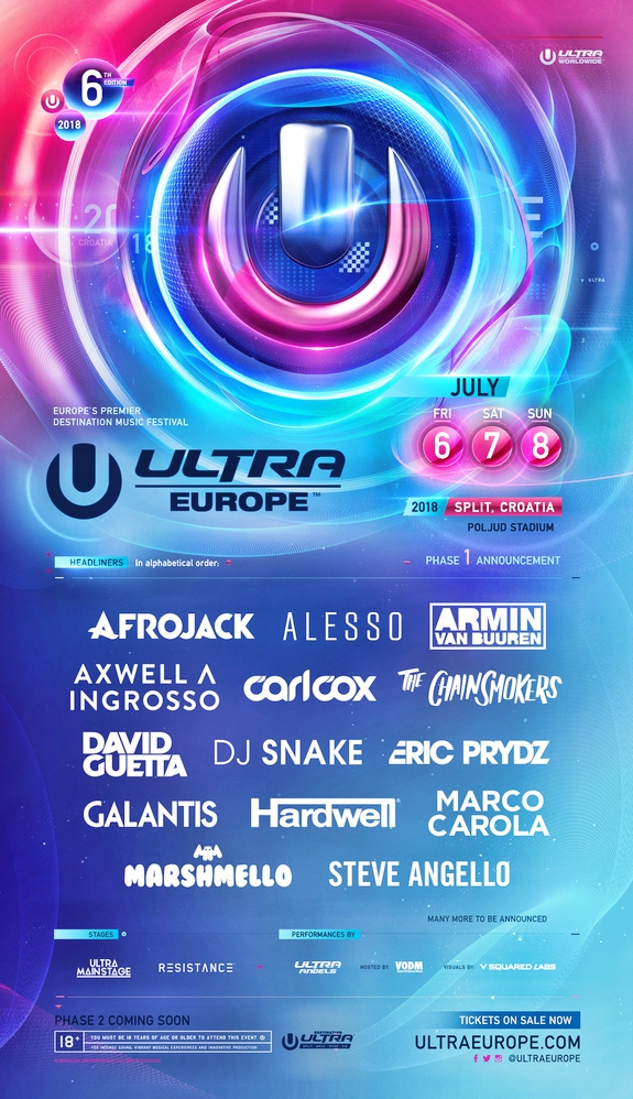Ultra Europe 2018 Phase One Lineup Flyer