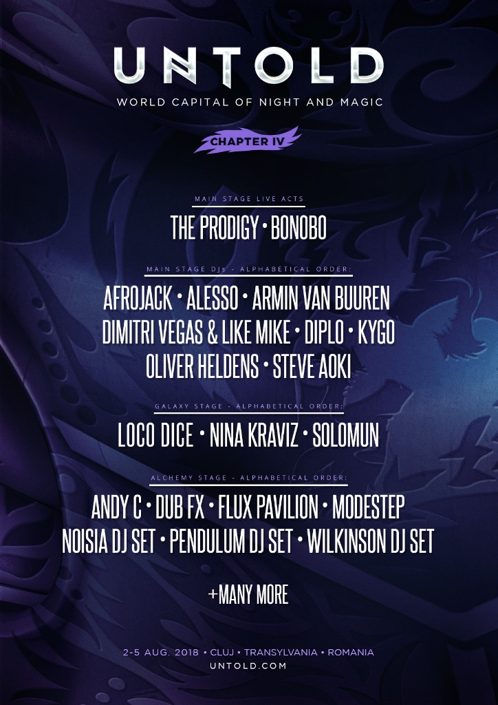 Untold Festival 2018 Phase One Lineup Flyer