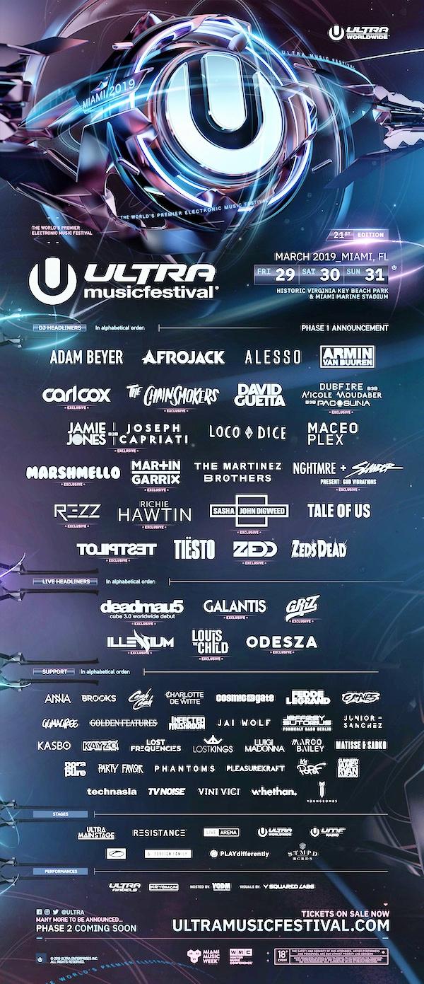 Ultra Music Festival 2019 Flyer