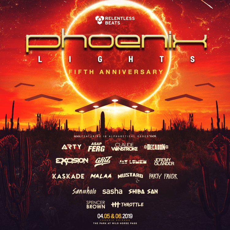Phoenix Lights 2019 Phase One Lineup Flyer