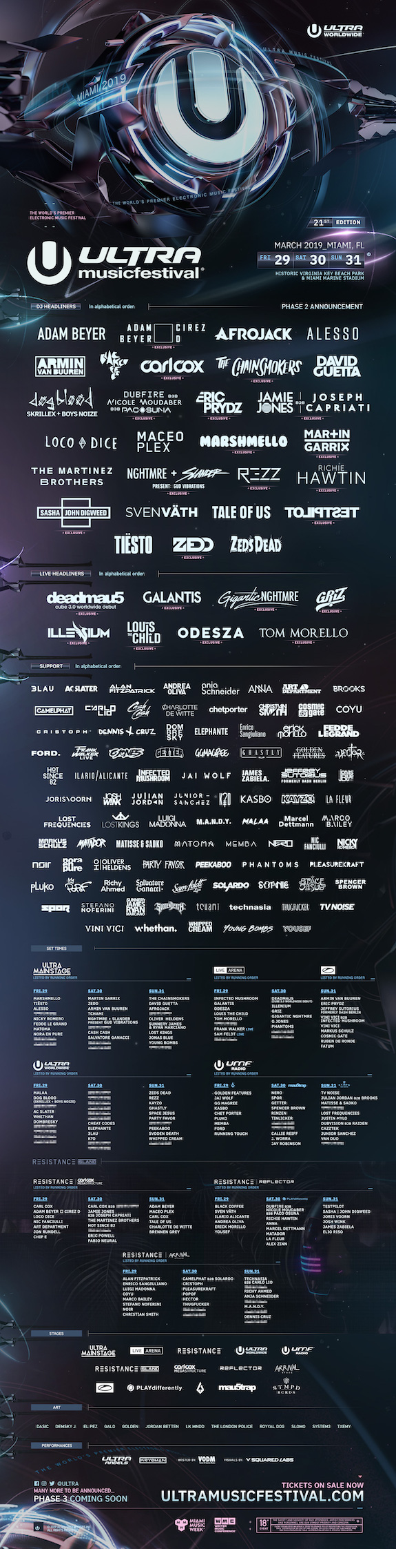 Ultra Music Festival 2019 Phase Two Lineup Flyer