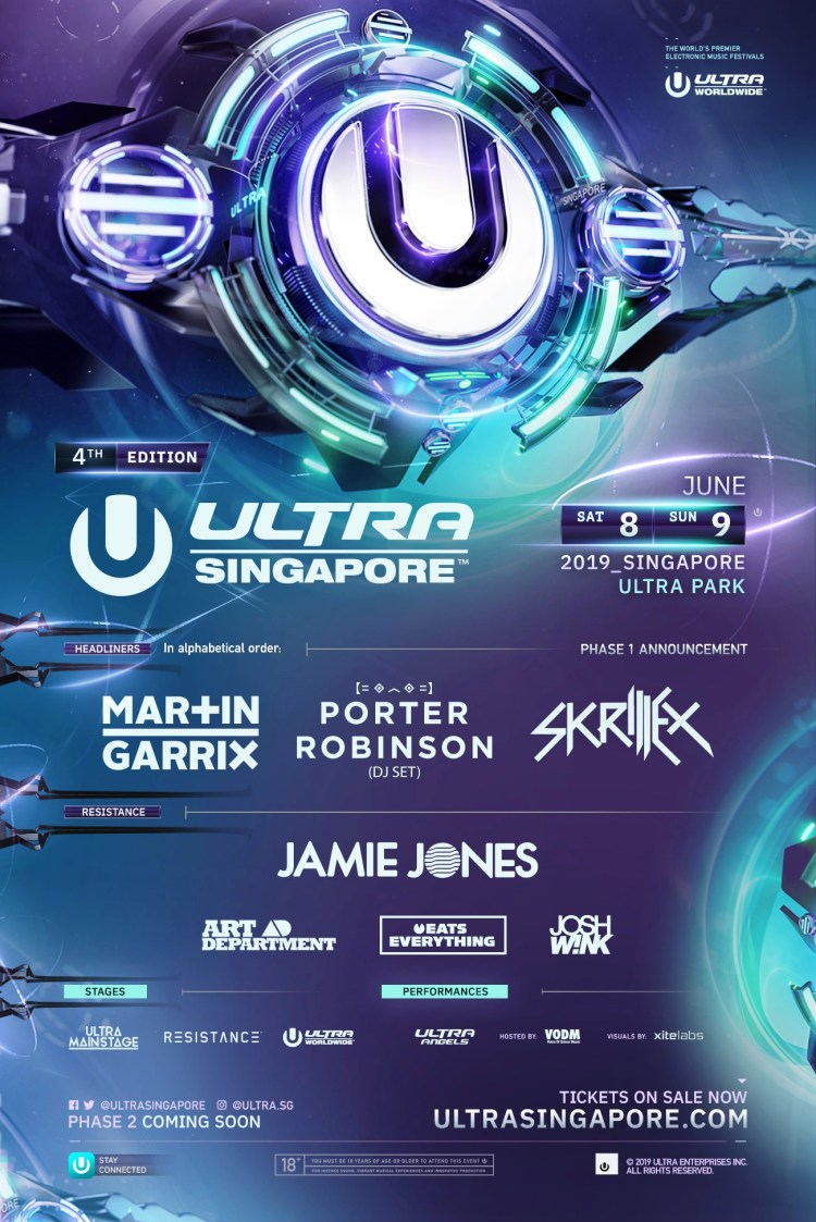 Ultra Singapore Phase One Lineup 2019 Flyer