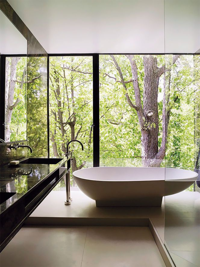 Tub with view of woods