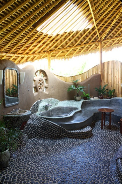 natural cob bathtub