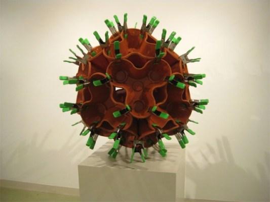Plastic pots sphere sculpture