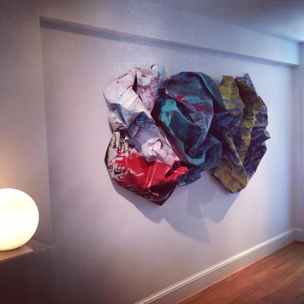 Washington DC interdisciplinary installation artist Edmond van der Bijl. 3d canvas on wall.