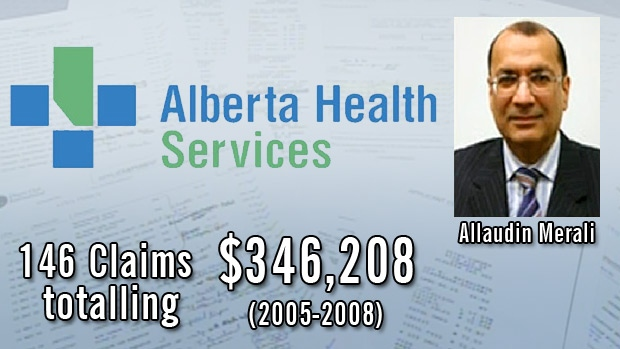 Expense reports released by Alberta Health Services for Executive Vice-President and CFO Allaudin Merali, show claims totalling hundreds of thousands of dollars during 2005-2008. Merali will no longer be working with Alberta Health Services effective immediately.