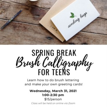 Beginner Brush Lettering for Teens (Spring Break)