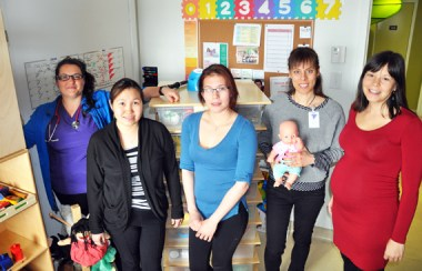 Some of the health care staff who work with the SIPPE program out of Tulattavik include, from left, social pediatrics nurse Pascale Larouche, family educator Stacey Ningiuruvik-Turner, hearing and otitis support worker Lucy Ekomiak, social work Sophie Gonthier and SIPPE/FASD coordinator Marie-Claude Péloquin. (PHOTO BY SARAH ROGERS)