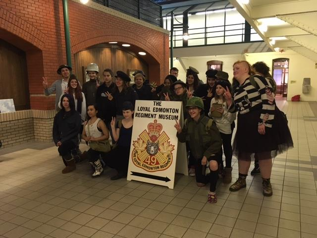The group from Victoria School for the Arts at the Loyal Edmonton Regiment Museum. (Photo: LER Museum)