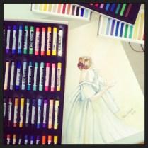 bailarina em aquarela e pastel - fazendo