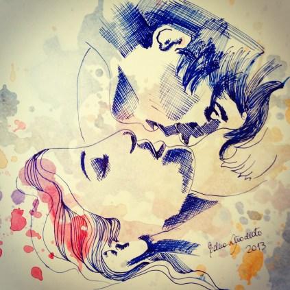 Upsidedown kiss blue