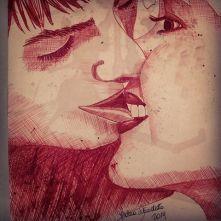 Bite me kiss red