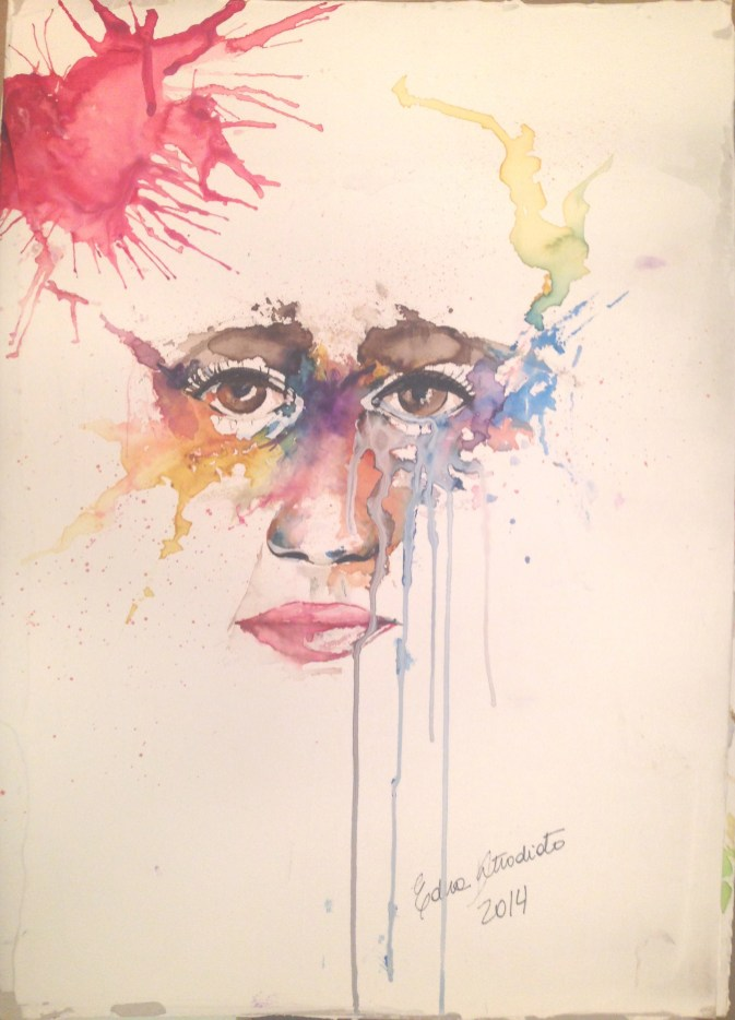 watercolor, ink and acrylic in paperboard