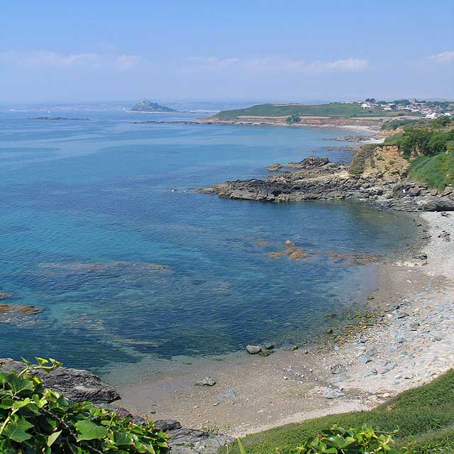 Secluded coves line Mounts Bay within easy walking distance of Ednovean Farm