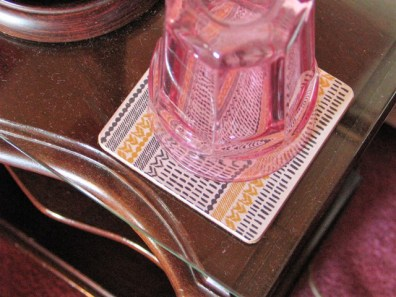 Water glass on coaster