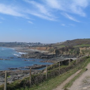 The coastal path in Cornwall just above the sea