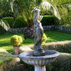 Fountain in a formal courtyard garden