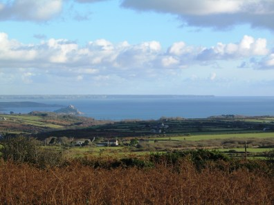 Winter view over Mounts bay to the Lizard