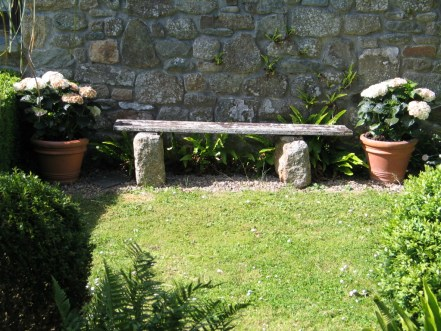 A simple distressed bench now flanked by pots of white hydrangeas