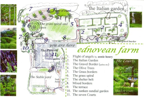 Garden map for Ednovean Farm gardens in West cornwall