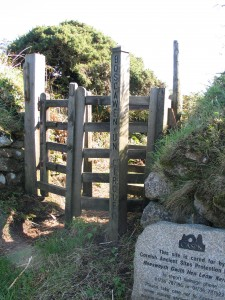 kissing gate leading to stone circle