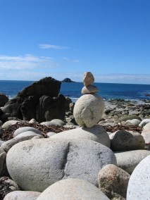 The boulders flow out across the beach giving it an alternative name of Dinosaur egg beach
