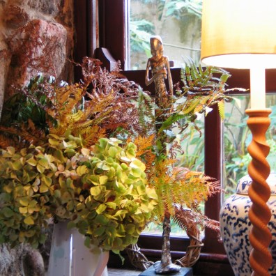 Autumn vase of dried flowers